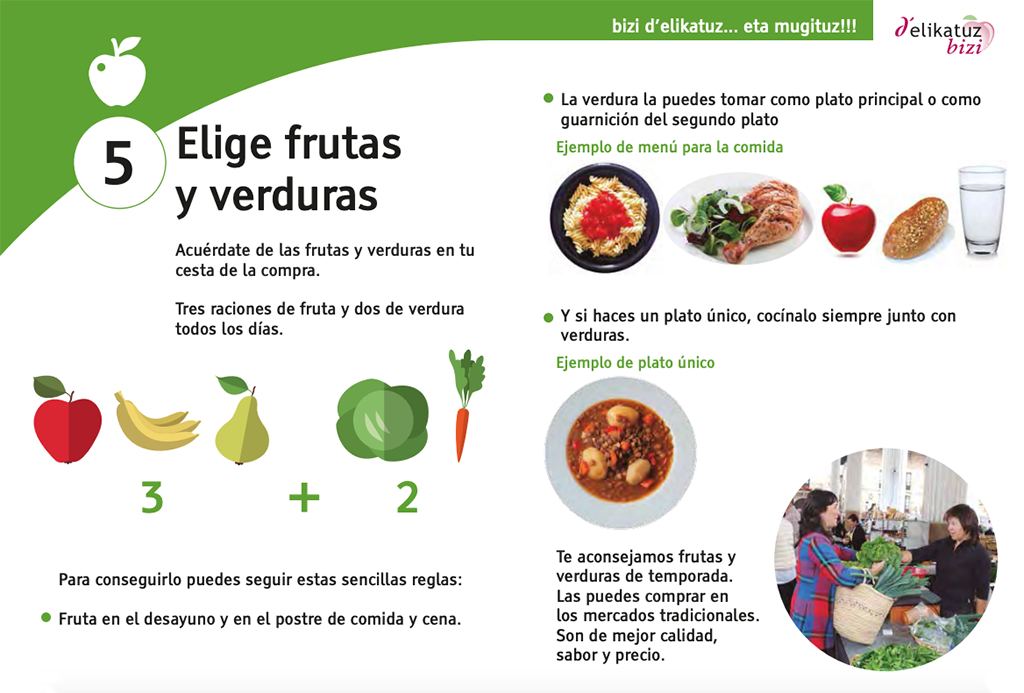 5 al día alimentación saludable.
