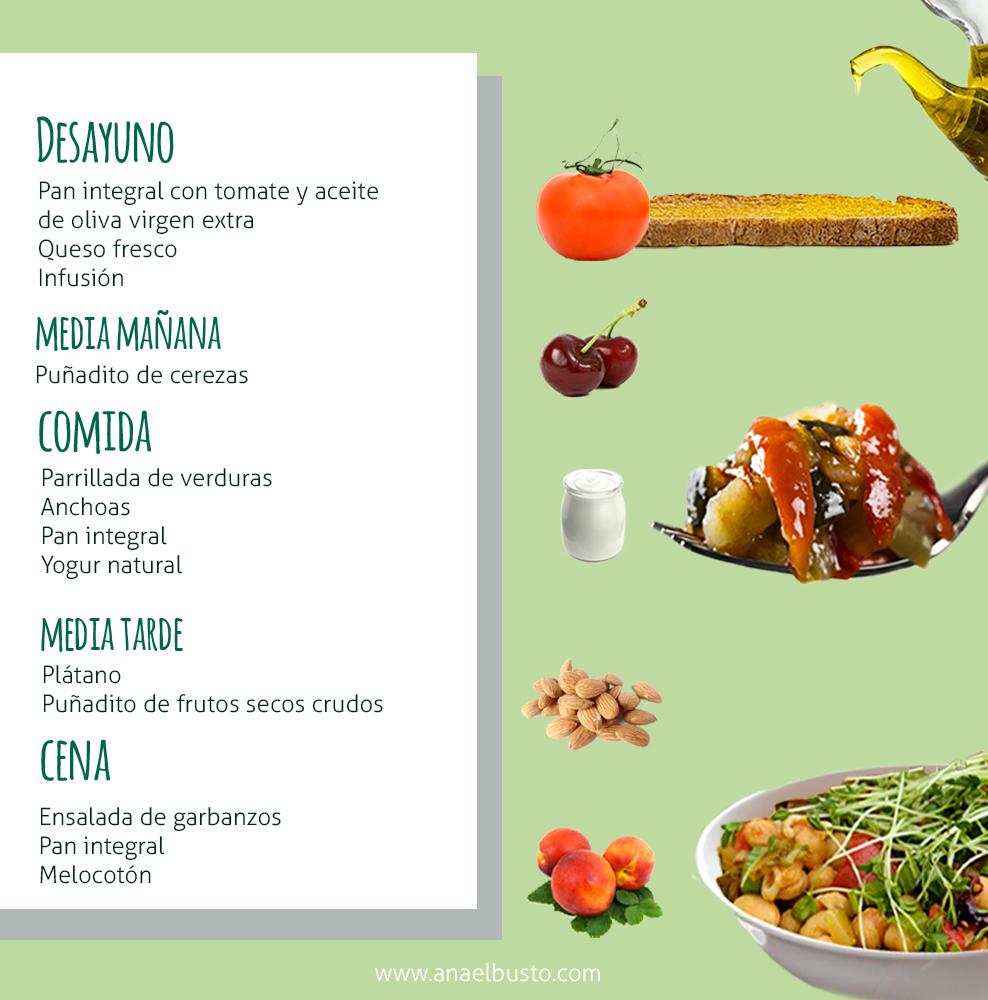 Infografía de propuesta de menú de primavera